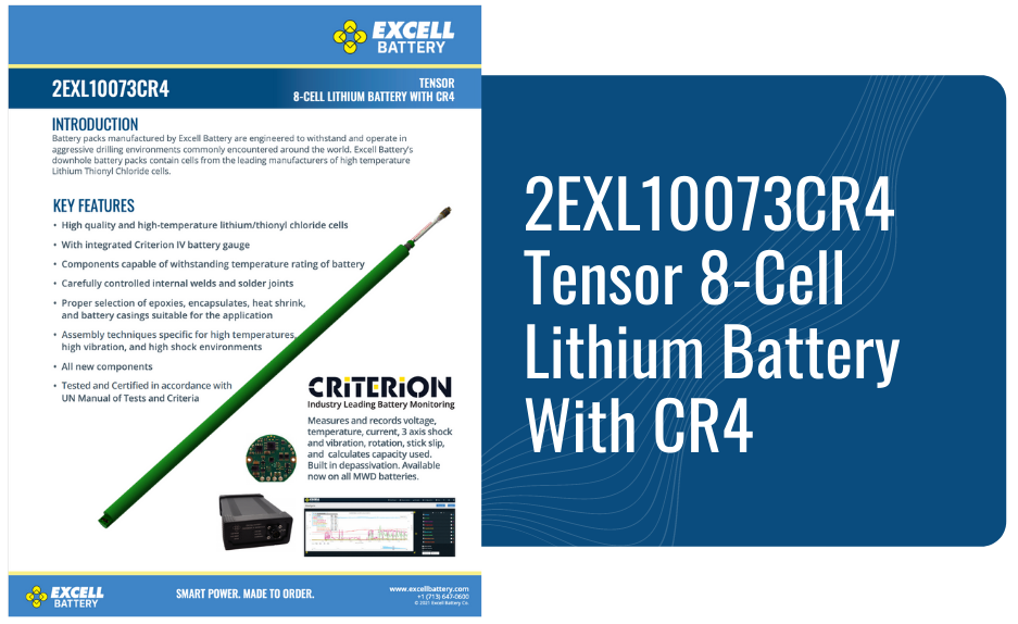 2EXL10073CR4 Tensor 8-Cell Lithium Battery With CR4