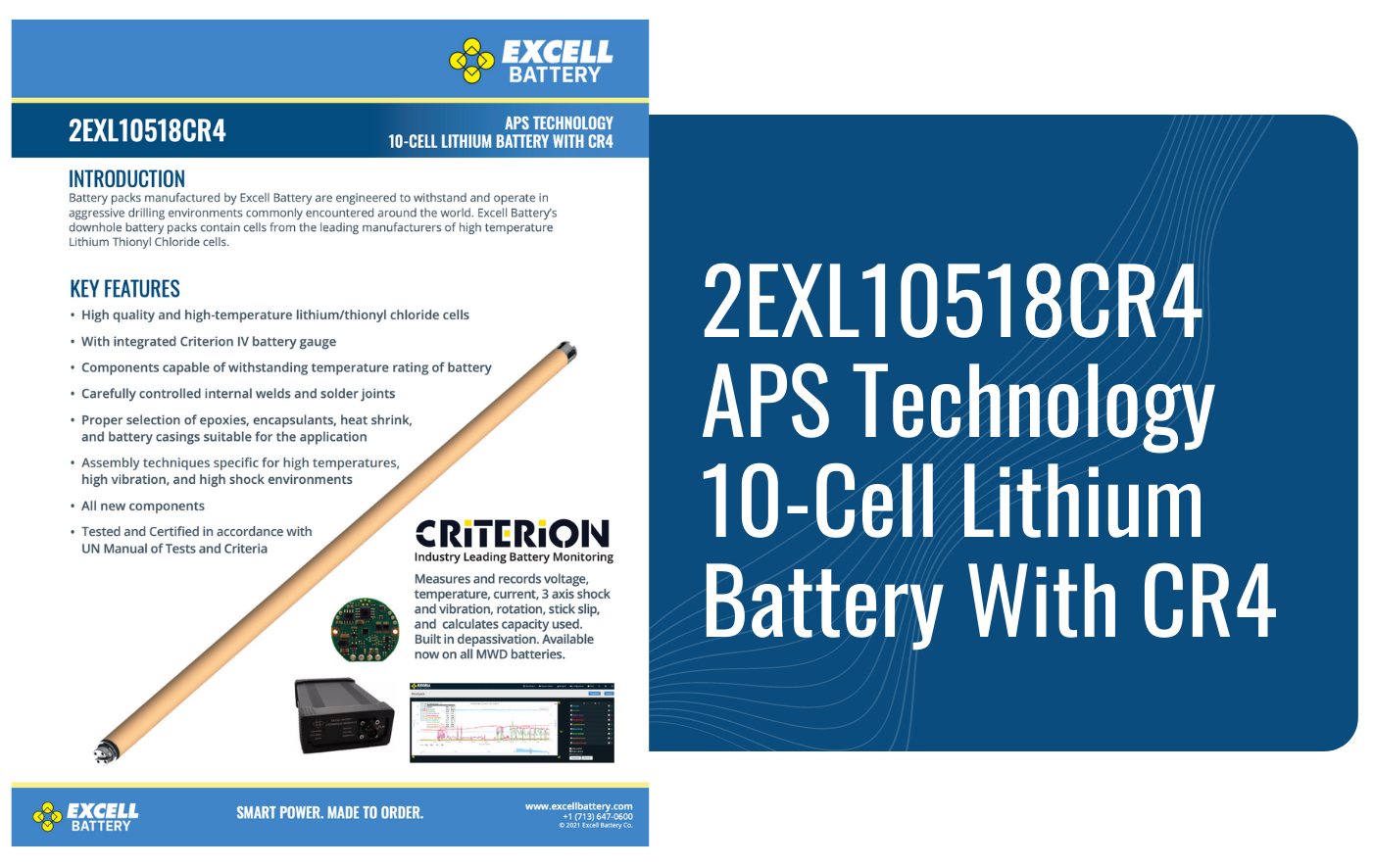 2EXL10518CR4 APS Technology 10-Cell Lithium Battery With CR4