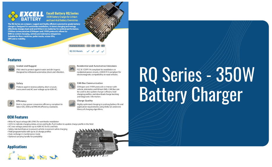Excell Battery RQ Series 350W Battery Charger for Lithium and Lead-Acid Battery Chemistries